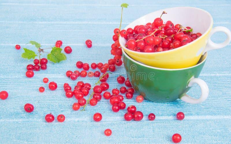 夏天颜色 在一个黄色和绿色杯子的红浆果在一浅兰的bckground 免版税库存图片