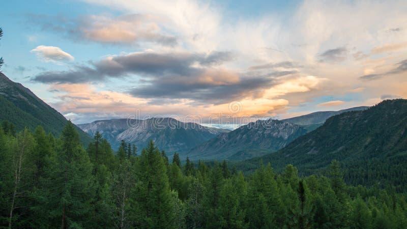 夏天风景、森林、山和五颜六色的多云天空,东Sayan,俄罗斯,西伯利亚 库存照片
