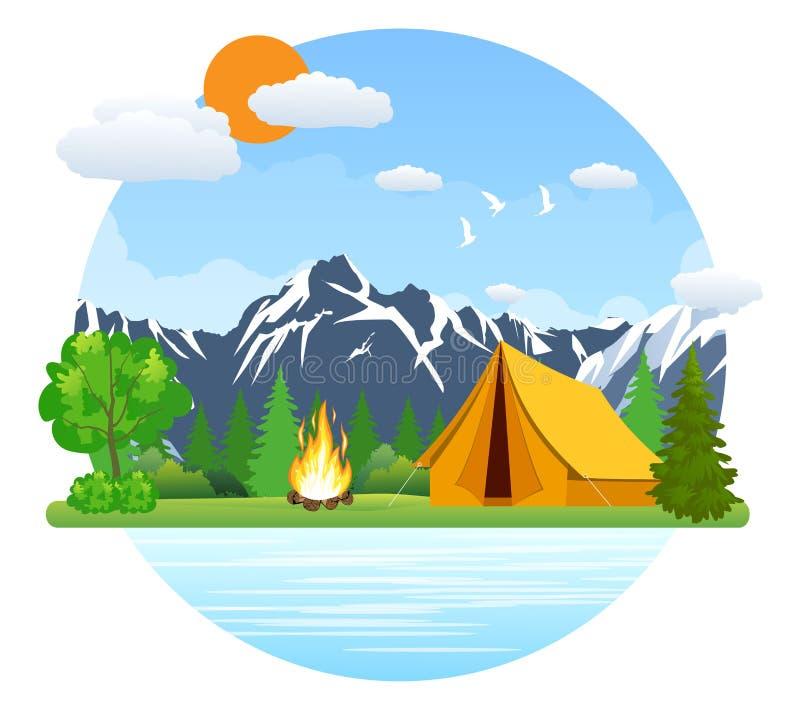 夏天风景帐篷和篝火 向量例证