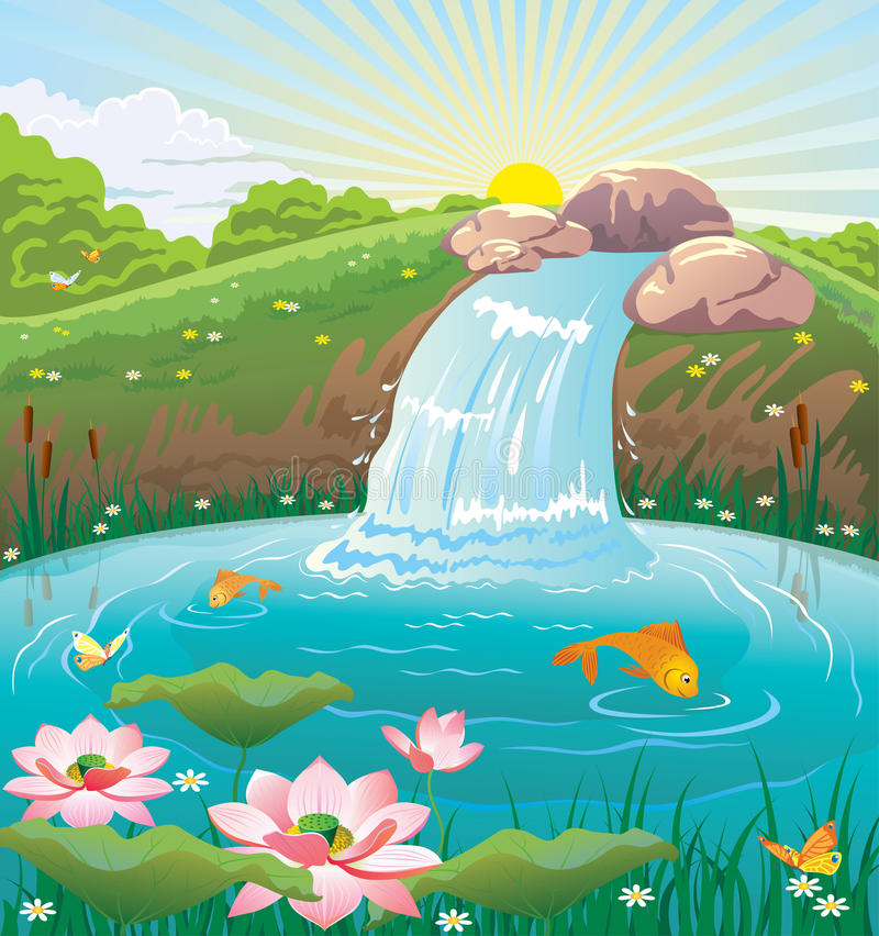 夏天风景的例证与湖和瀑布的 库存例证