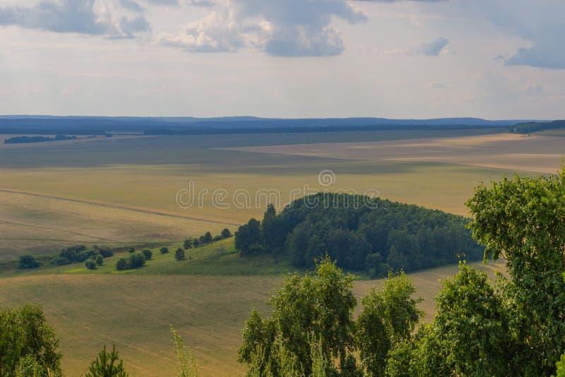 夏天风景,从山的看法 免版税库存照片