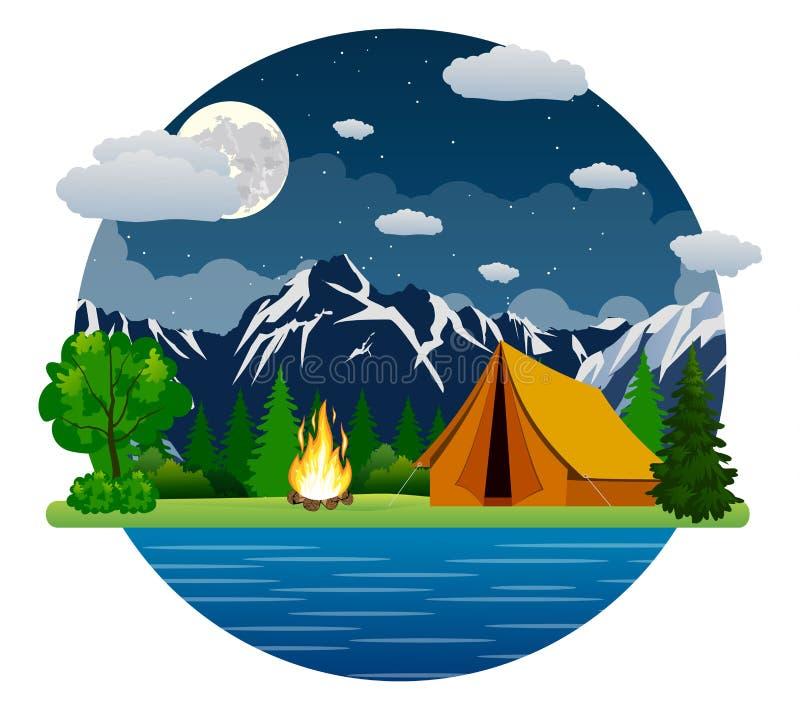 夏天风景:帐篷和篝火 库存例证