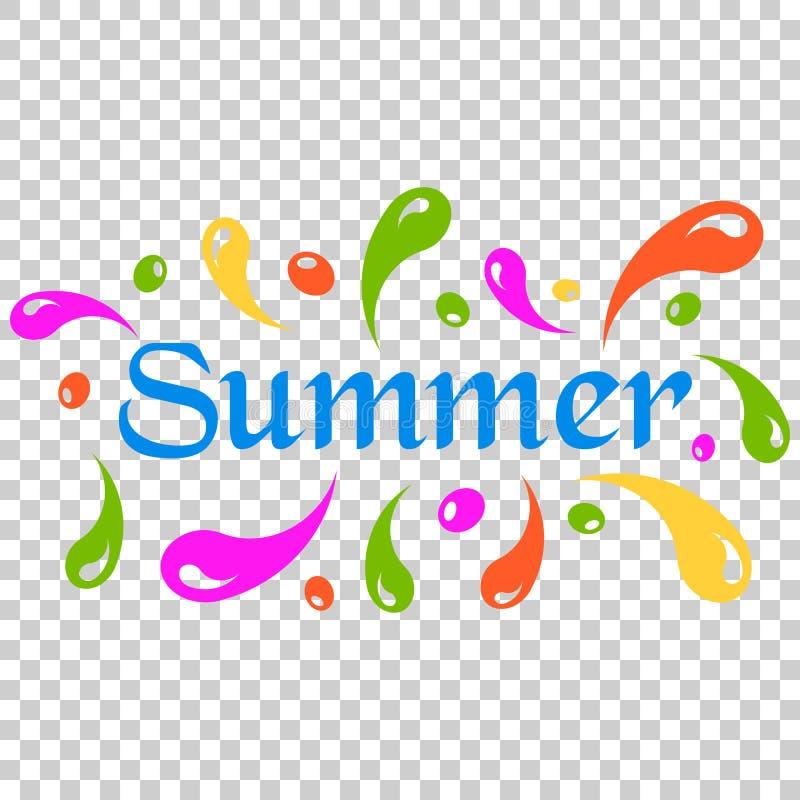 夏天飞溅浪花在平的样式的传染媒介象 夏令时illust 向量例证
