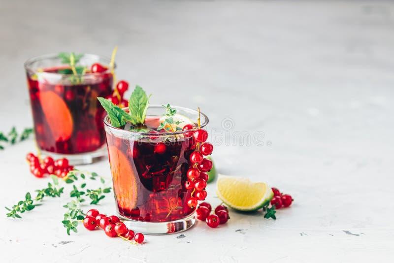 夏天饮料和酒精鸡尾酒无核小葡萄干mojito 免版税图库摄影