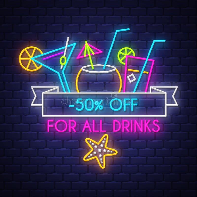 夏天饮料的销售横幅 霓虹灯广告字法 库存例证