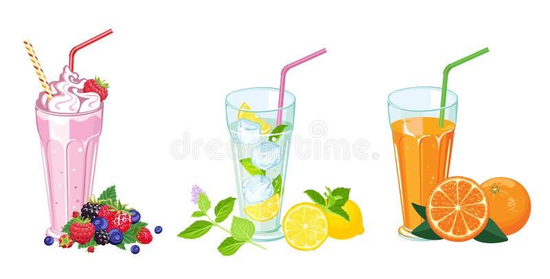 夏天饮料集合 奶昔、新鲜的汁液和mojito在玻璃 皇族释放例证