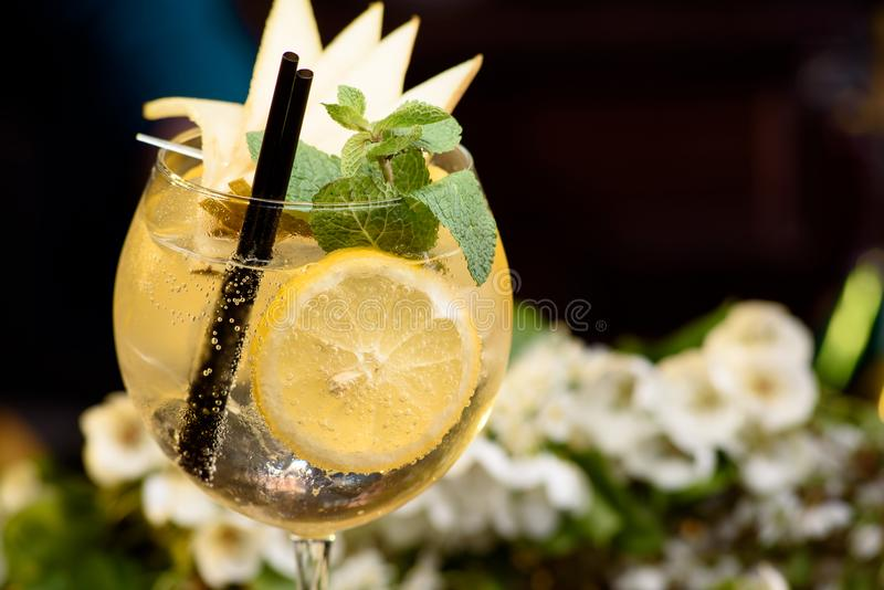 夏天鸡尾酒装饰用在一张木桌上的薄菏、柠檬和切片梨在花卉背景 库存照片