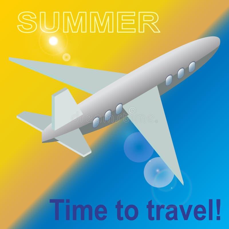夏天,时刻旅行 在海滩上的一架飞机 明亮的背景 库存例证