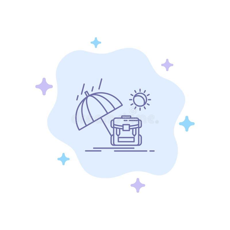 夏天,背包,太阳,在抽象云彩背景的季节蓝色象 库存例证