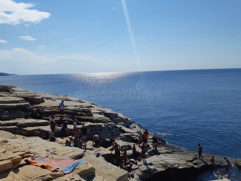 夏天,震动,海滩,海,太阳,放松,天空,旅行,希腊,海岛,爱,早晨 免版税库存照片