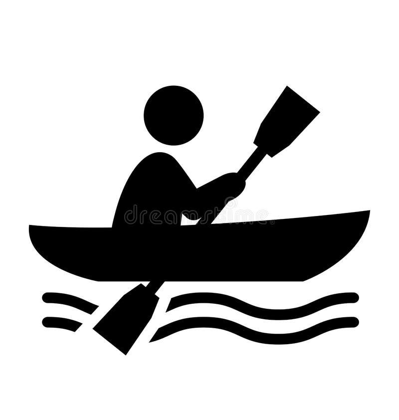 夏天水上运动在小船平的人象Isolat的图表行 向量例证