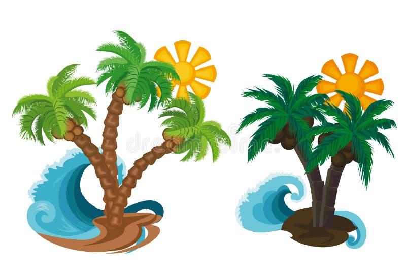 夏天 与太阳的棕榈树在白色背景 库存例证