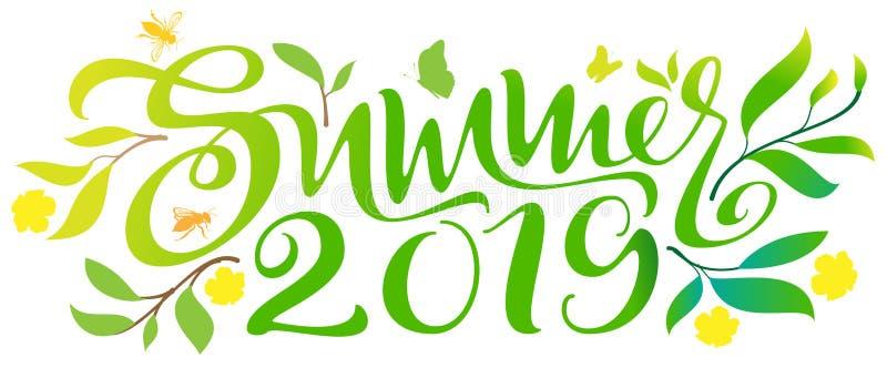 夏天2019手书面书法文本华丽绿色叶子 库存照片