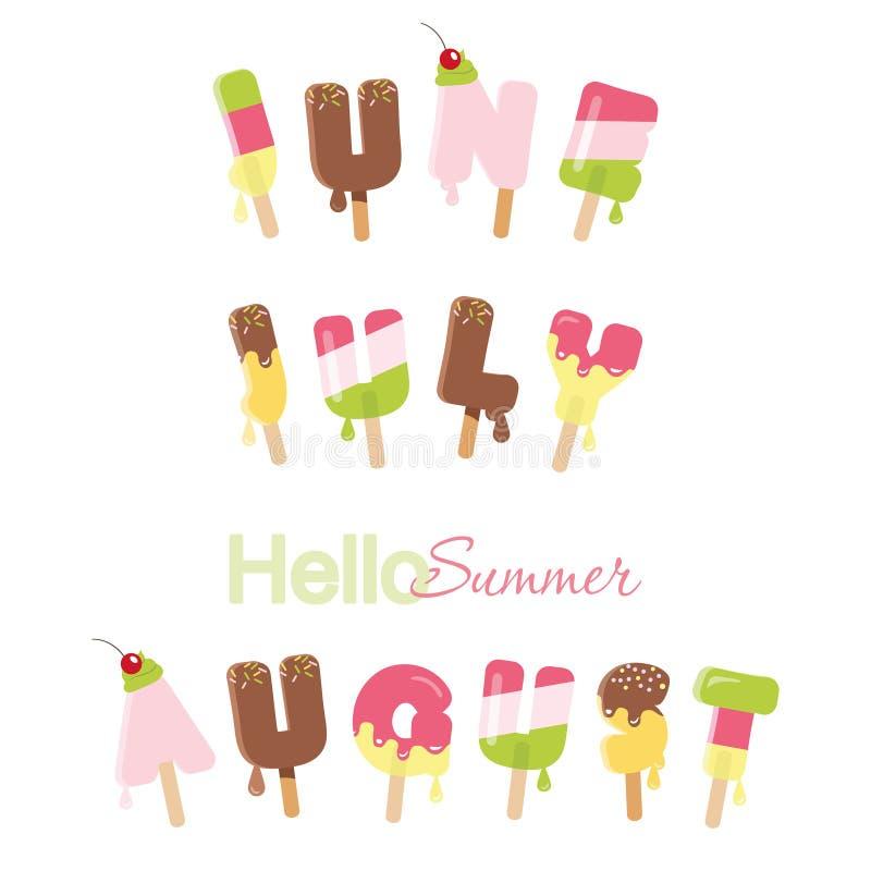 夏天6月, 7月,威严的你好 在白色的冰淇凌熔化信件 向量例证