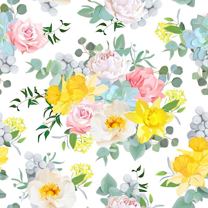 夏天晴朗的花卉无缝的传染媒介样式 库存例证