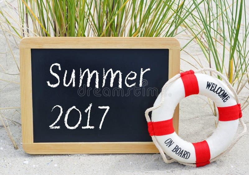 夏天2017年-欢迎在船上 免版税库存图片