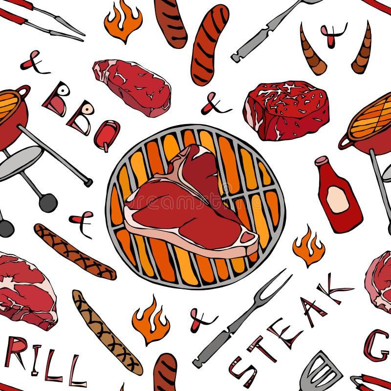 夏天BBQ格栅党的无缝的样式 大丁骨牛排,香肠,烤肉栅格,钳子,叉子,火,番茄酱 手拉的vecto 向量例证