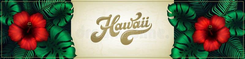 夏威夷与热带植物、棕榈叶、红色木槿花和夏威夷文本的背景设计 水平的夏天党 皇族释放例证