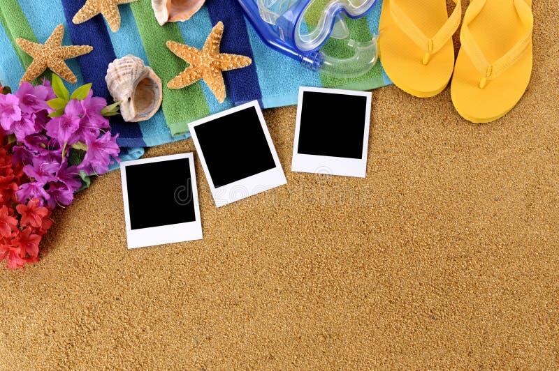 夏威夷与空白的照片的海滩场面 免版税图库摄影