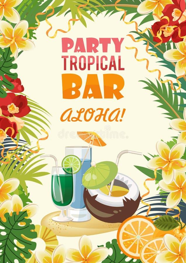 夏威夷传染媒介与鸡尾酒的旅行例证 明亮的样式 海滩胜地 晴朗的假期 库存例证