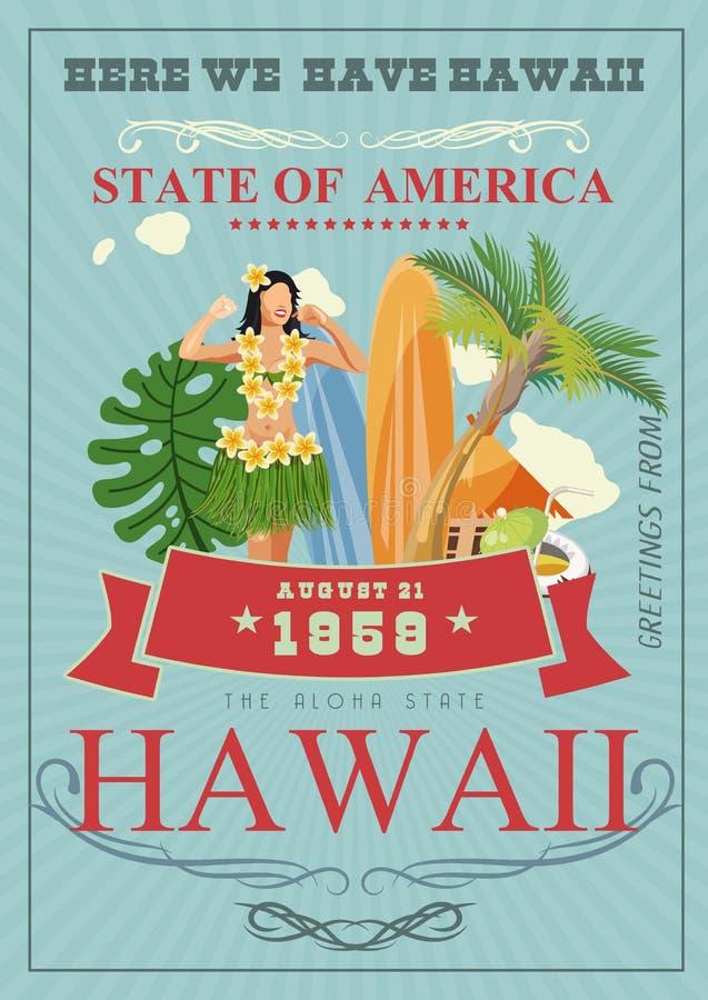 夏威夷传染媒介旅行例证 明亮的样式 海滩胜地 在葡萄酒样式的晴朗的假期 库存例证