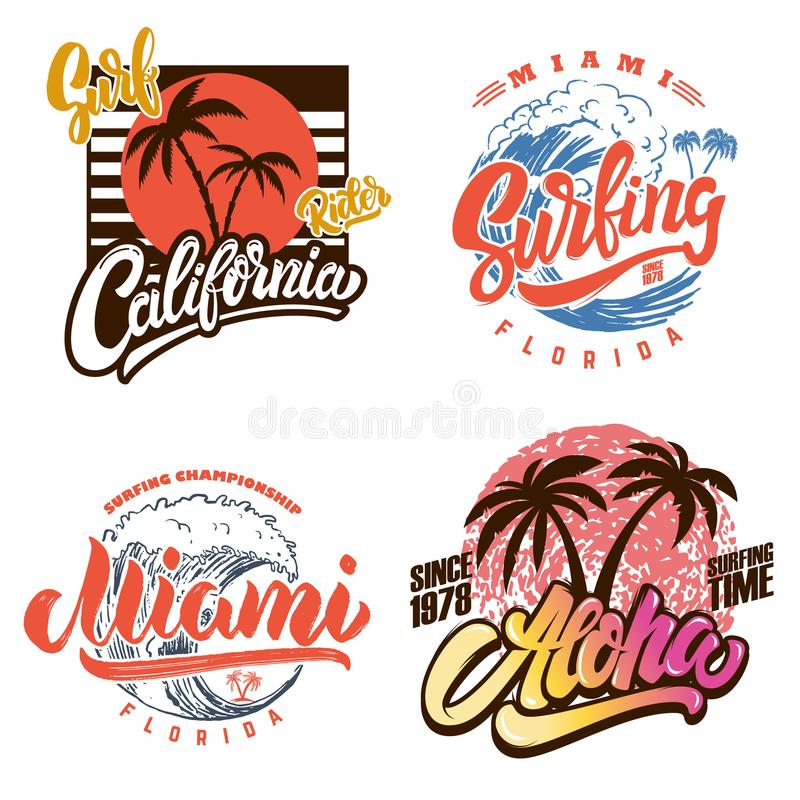 夏威夷冲浪的俱乐部 迈阿密 与字法和棕榈的海报模板 皇族释放例证