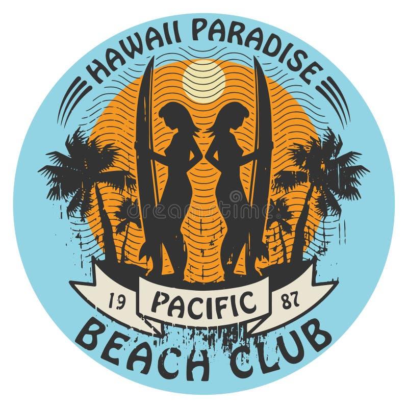 夏威夷冲浪者标志 向量例证