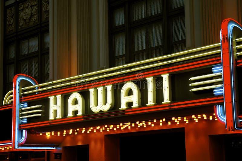 夏威夷剧院氖候爵 图库摄影