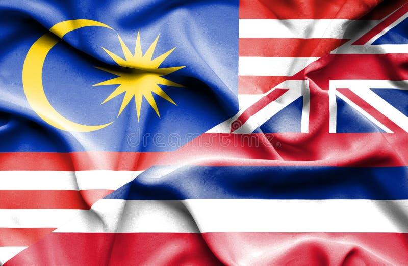 夏威夷和马来西亚的挥动的旗子 库存例证