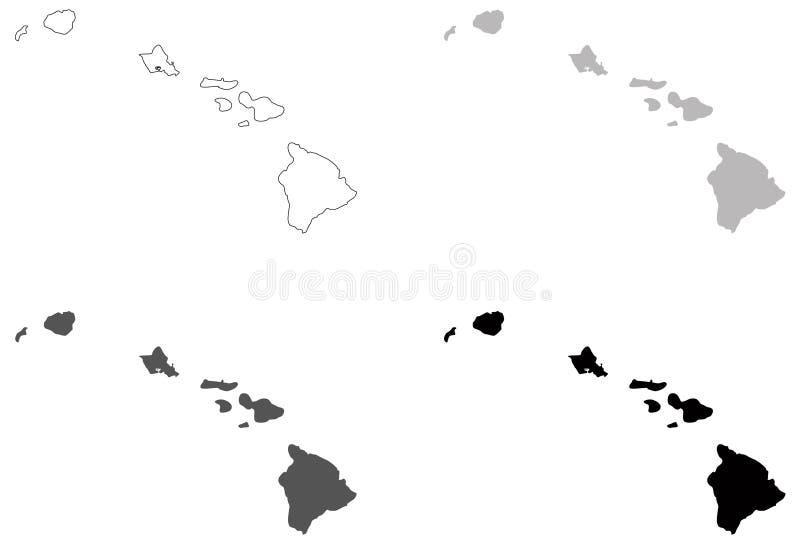 夏威夷地图- U S 位于大洋洲的状态 向量例证