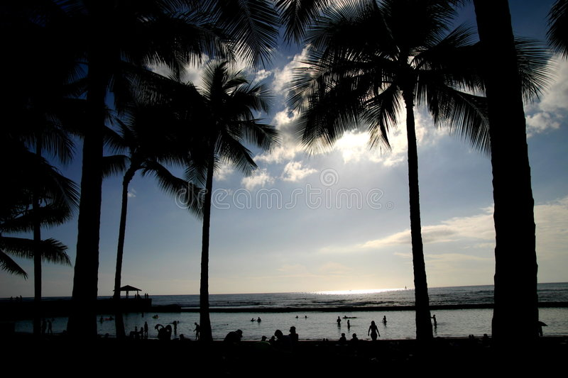夏威夷日落waikiko 免版税库存图片