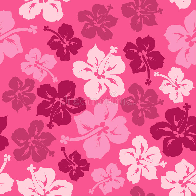 夏威夷木槿的花卉无缝的样式 库存例证