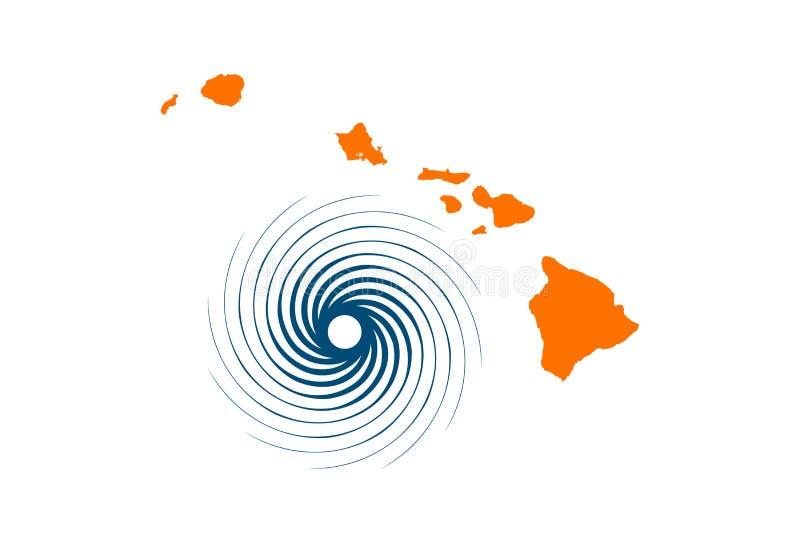 夏威夷海岛和飓风 也corel凹道例证向量 皇族释放例证