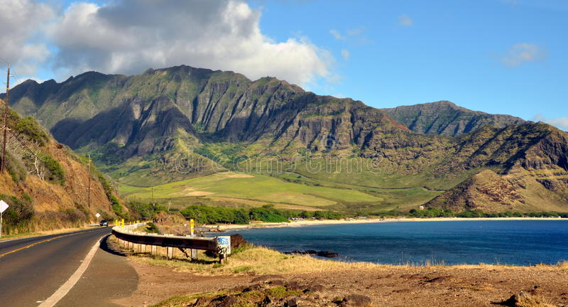 夏威夷海岸线看法  库存照片