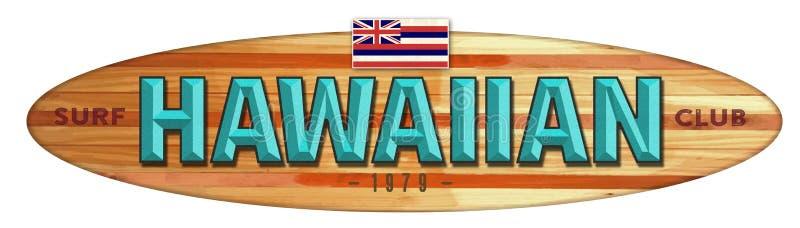 夏威夷海浪俱乐部冲浪板标志 皇族释放例证