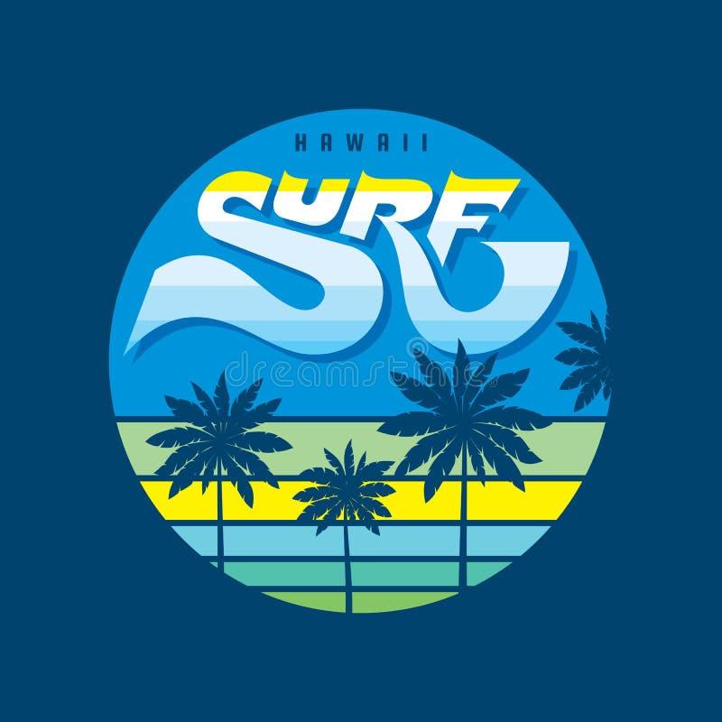 夏威夷海浪-徽章商标传染媒介在葡萄酒减速火箭的样式的例证概念T恤杉的,印刷品,海报 棕榈,日落,海波浪 向量例证