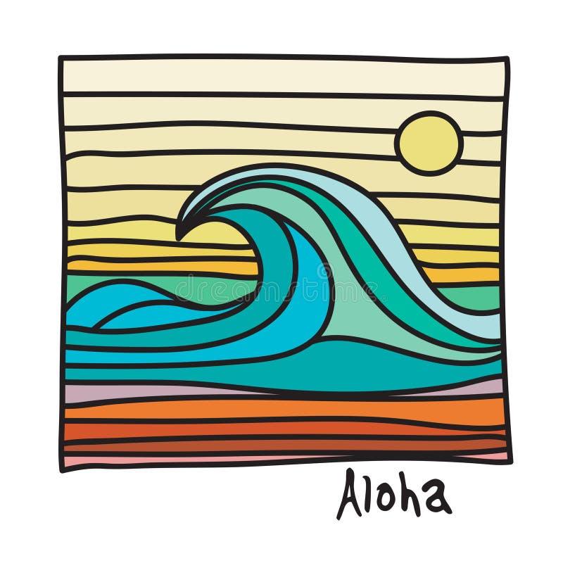 夏威夷海滩,冲浪者海报 向量例证