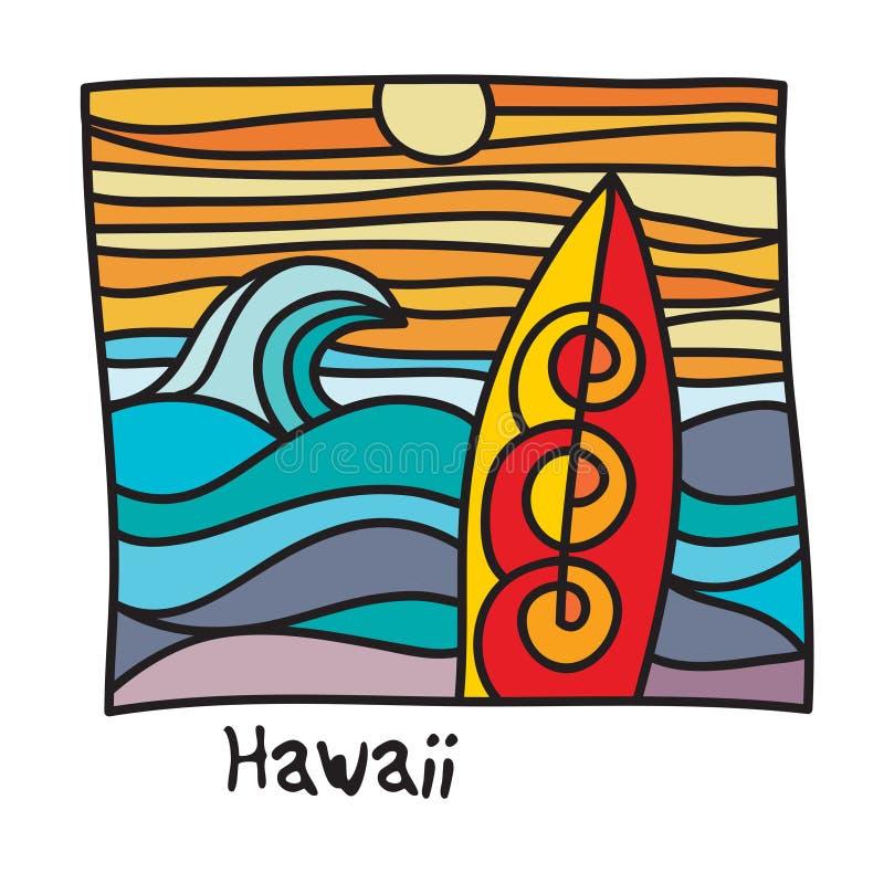 夏威夷海滩,冲浪者海报 库存例证