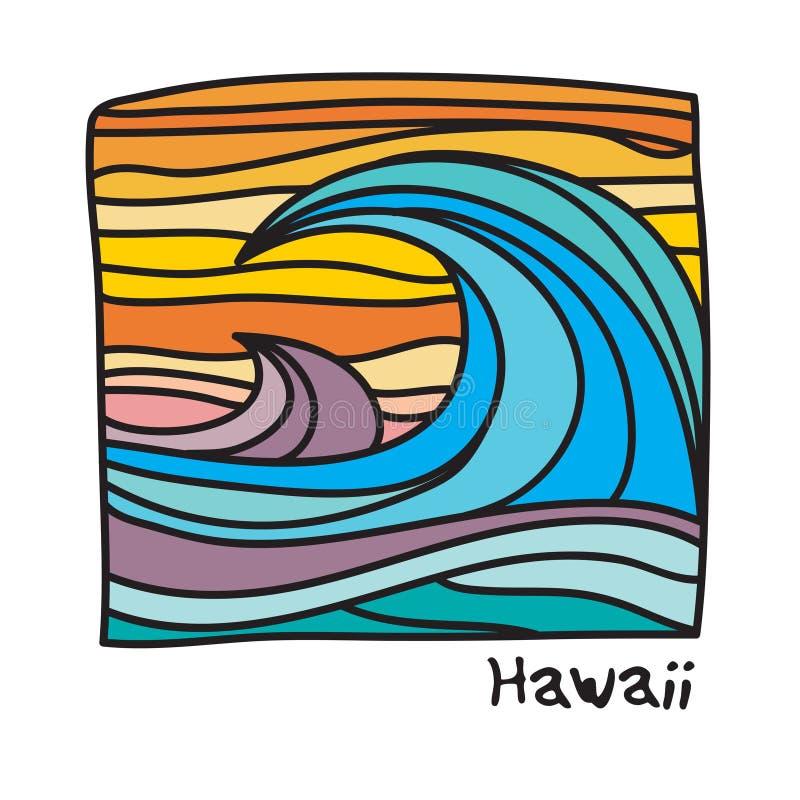 夏威夷海滩,冲浪者海报 皇族释放例证