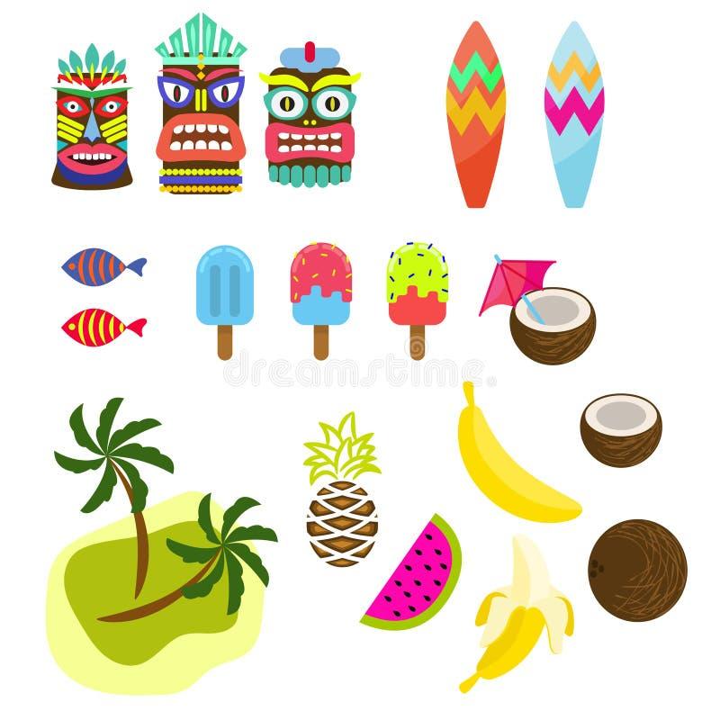 夏威夷热带五颜六色的clipart传染媒介 库存例证