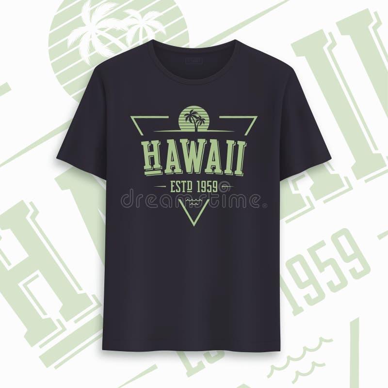 夏威夷状态图表T恤杉设计,印刷术,印刷品 r 向量例证