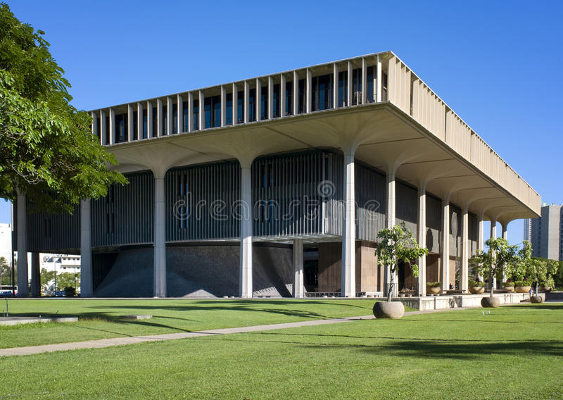 状态国会大厦大厦,檀香山,奥阿胡岛,夏威夷 免版税库存图片