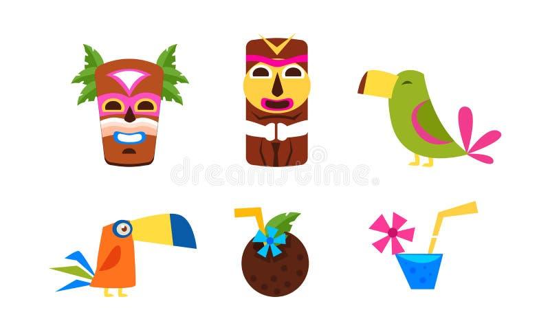 夏威夷符号集、暑假、热带手段、旅行和异乎寻常的假日传染媒介例证 皇族释放例证