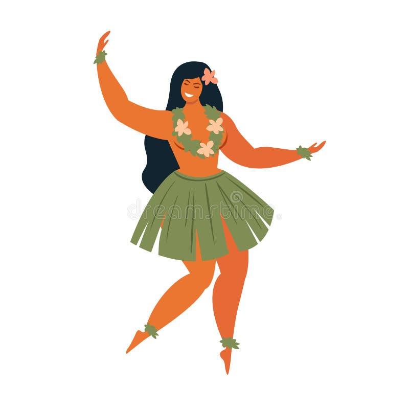 夏威夷舞蹈 演奏尤克里里琴和跳舞Hula的女孩 向量例证