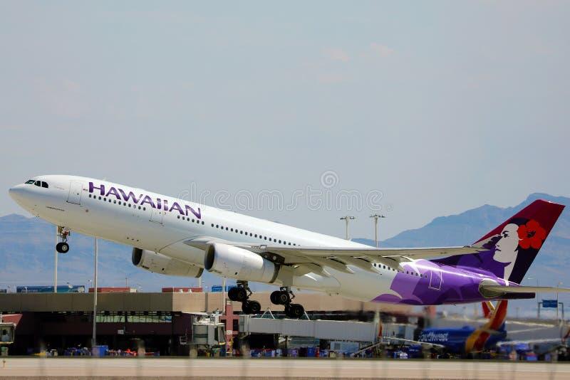 夏威夷航空公司从拉斯维加斯机场起飞 库存照片