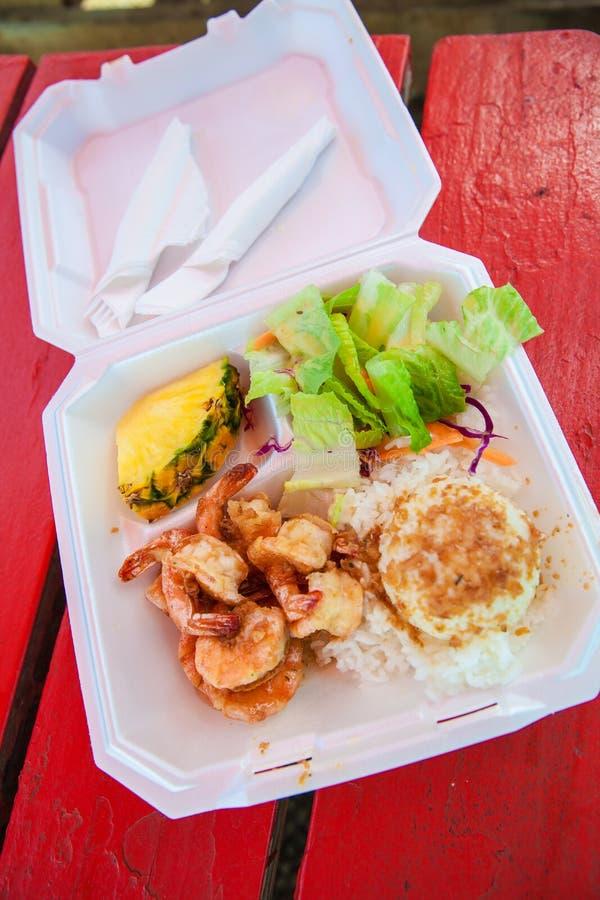 夏威夷虾scampi和米 免版税库存照片
