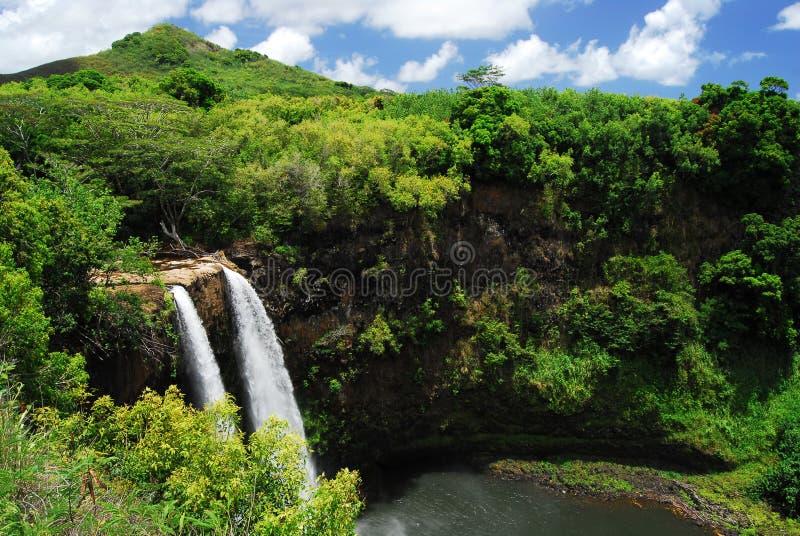 夏威夷风景瀑布 免版税库存图片