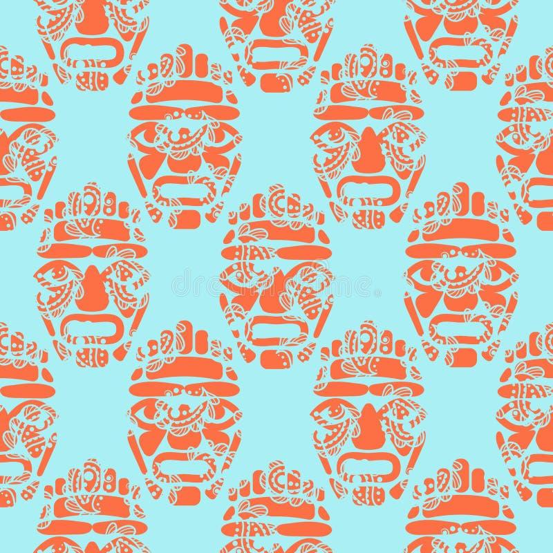 夏威夷tiki部族面具无缝的简单的样式 向量例证