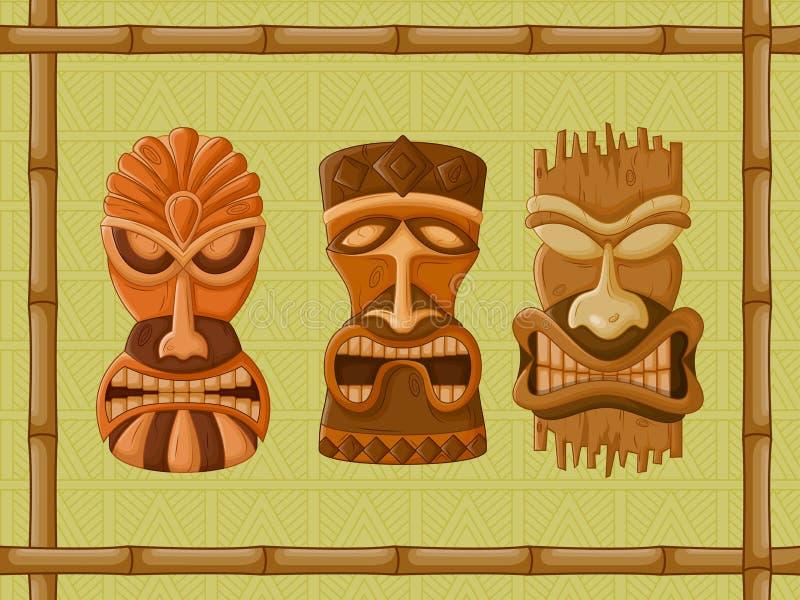 夏威夷Tiki部族面具 皇族释放例证