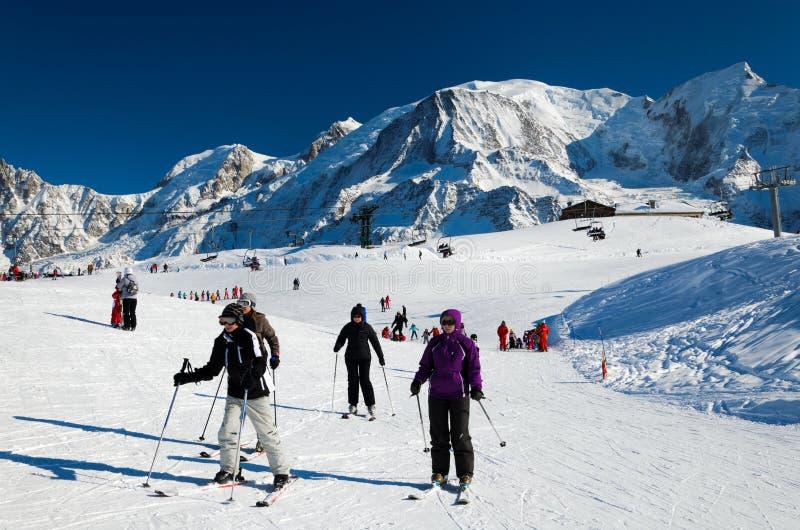 夏慕尼滑雪胜地 库存照片